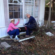 Carol and Ron installing the new skirting